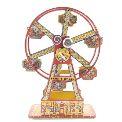 """J. Chein  & Co. """"Hercules"""" Tin Lithograph Wind-Up Ferris Wheel Toy, 1930s"""