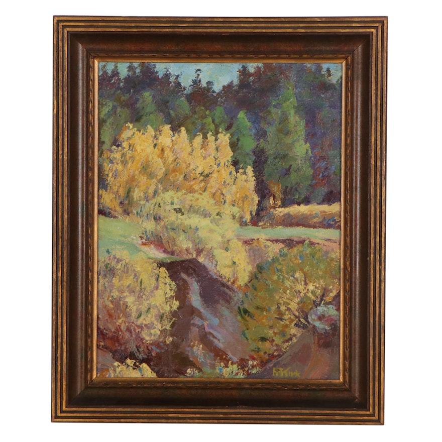 Landscape Oil Painting, Circa 1970