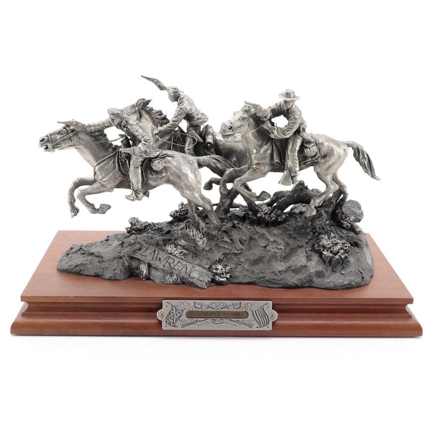 "Fran Barnum for Chilmark ""Quantrill's Raiders"" Cast Pewter Sculpture, 1991"