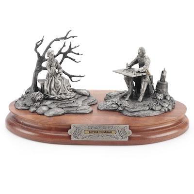 "Fran Barnum for Chilmark ""Letter To Sarah"" Signed Pewter Sculpture, 1993"