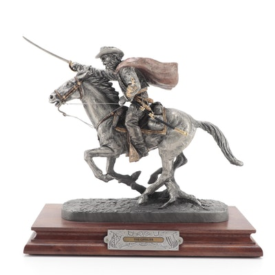"""Francis Barnum for Chilmark """"The Cavalier"""" Signed Pewter Sculpture, 1995"""