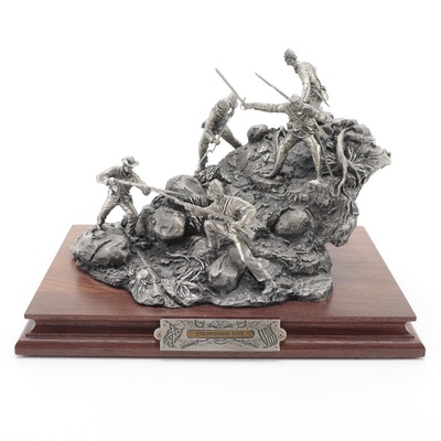 """Francis Barnum for Chilmark """"The Swinging Gate"""" Pewter Sculpture, 1995"""