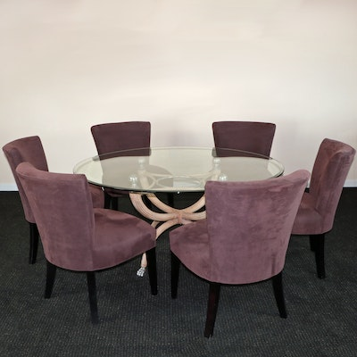 Contemporary Neoclassical Style Glass Top Table with Upholstered Dining Chairs