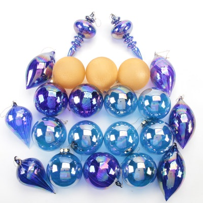 Blown Cobalt and Blue Iridescent and Orange Glass Ornaments