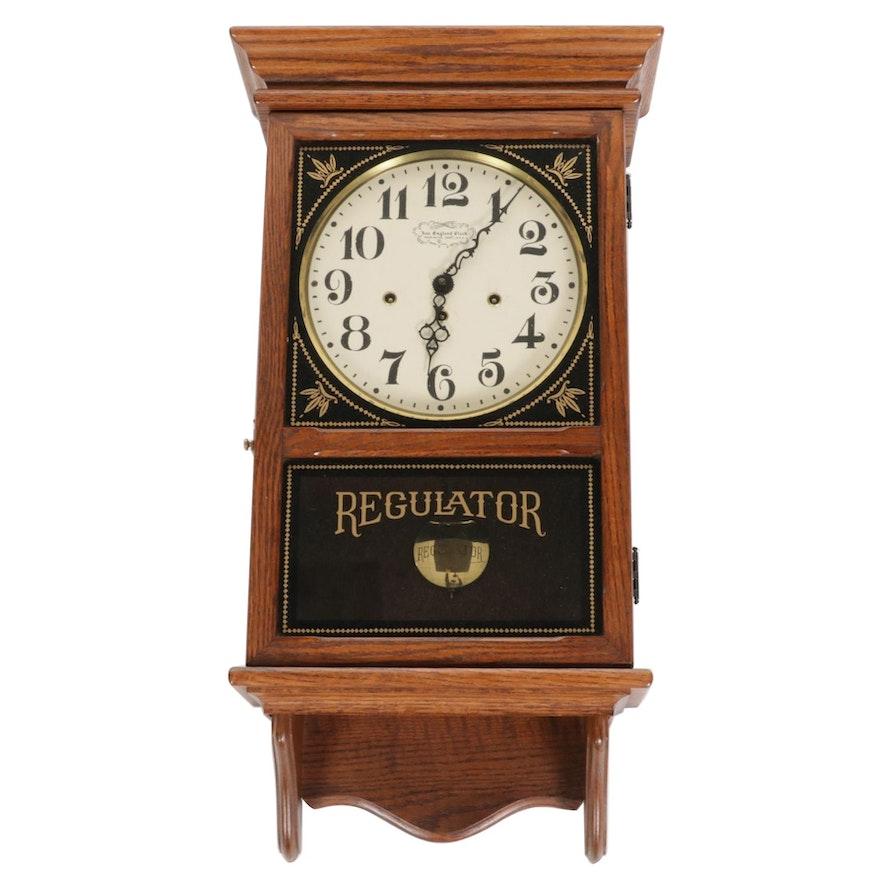 New England Oak Cased Regulator Wall Clock, Late 20th Century