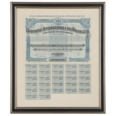 """French Stock Certificate """"Compagnie Internationale des Wagons-Lits,"""" Circa 1900"""