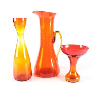 Amberina Blown Glass Vases and Orange Blown Glass Pitcher