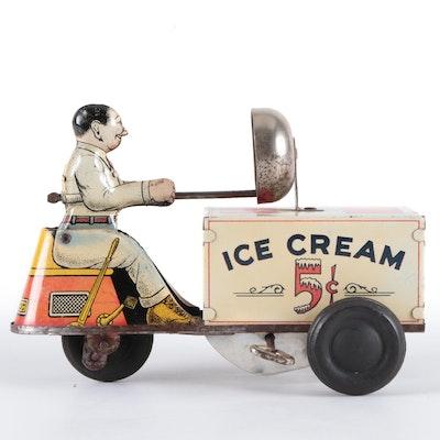 Walt Reach by Courtland Tin Lithograph Ice Cream Vendor Toy
