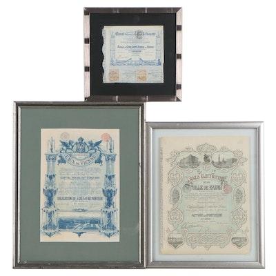 French Stock Certificates, Circa 1900