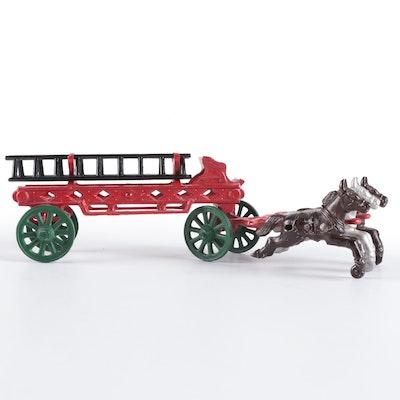 Cast Iron Horse Drawn Fire Ladder Wagon Toy