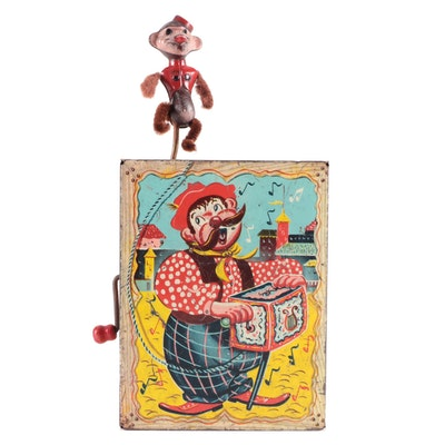 Mattel Circus Monkey Crank Organ Grinder Toy, Mid-20th Century