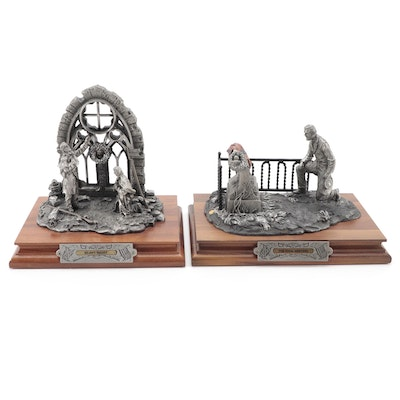 """Francis Barnum for Chilmark """"Final Meeting"""" and """"Silent Night"""" Pewter Sculptures"""