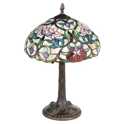 Dale Tiffany Vine and Flowers Slag Glass Table Lamp, Late 20th Century