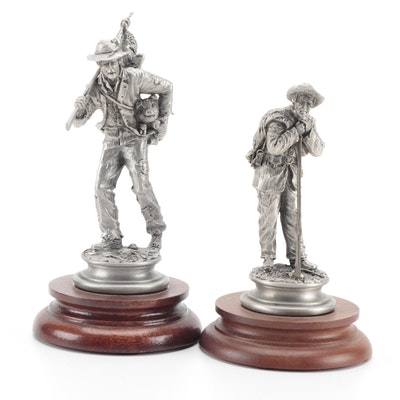 """Fran Barnum for Chilmark """"Johnny Reb"""" and """"The Forager"""" Pewter Sculptures"""