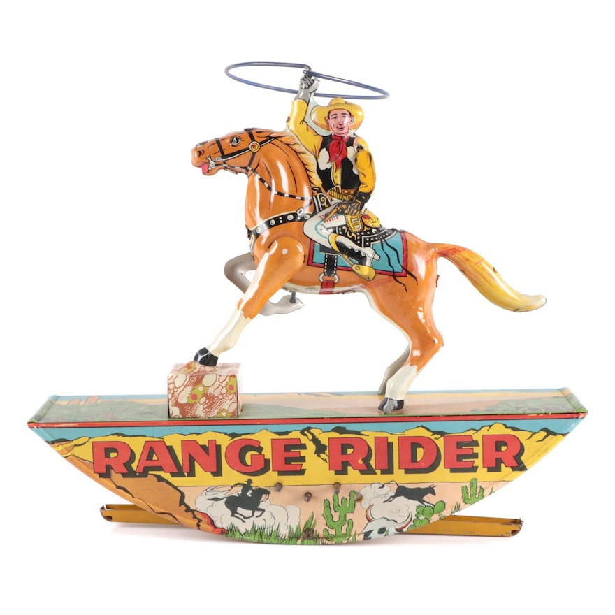 """Marx """"Range Rider"""" Wind-Up Tin Lithographed Toy"""