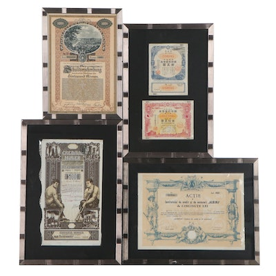 German, Japanese, Italian, and Other World Stock Certificates, Circa 1900