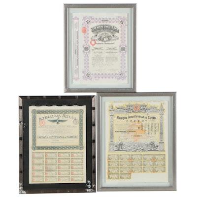 Mine, Automobile, and Banking Certificates, Circa 1900
