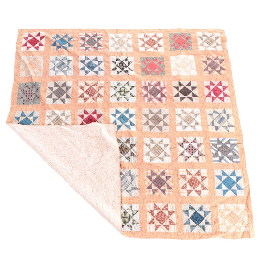 """Handmade """"Variable Star"""" Pieced Quilt, Mid to Late 20th Century"""