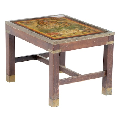 Custom-Made Brass Trimmed End Table with Thangka Print under Glass