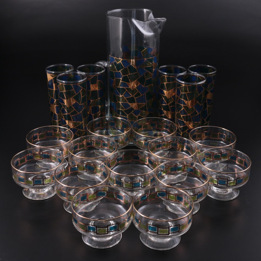 Mid-Century Modern Mosaic Glass Pitcher, Collins Glasses, and Ice Cream Dishes