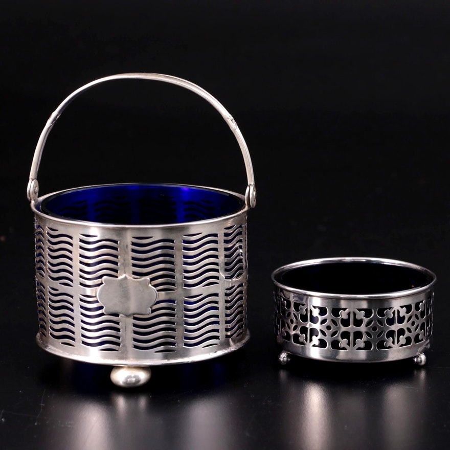 J.E. Caldwell & Co. Cobalt Lined Sterling Silver Sugar Bowl and Open Salt Cellar
