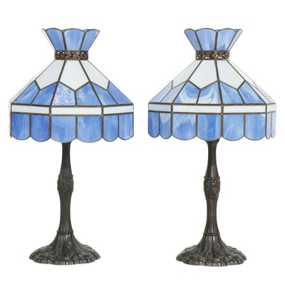 Pair of Blue Slag Glass Table Lamps