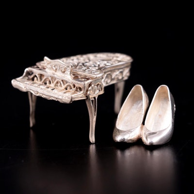 Camelot Silverware Ltd Sterling Silver High Heel Shoes and Piano Figurines