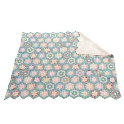 "Handmade ""Grandmother's Flower Garden"" Pieced Quilt, Mid-20th Century"