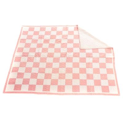 "Handmade ""One Patch"" Checkerboard Pieced Cotton Quilt"