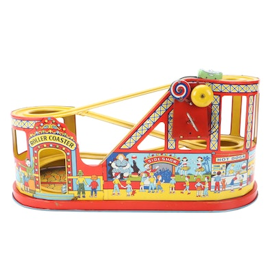 """Chein & Co. Tin Litho """"Side Show"""" Wind-Up Roller Coaster and Cars, circa 1930"""