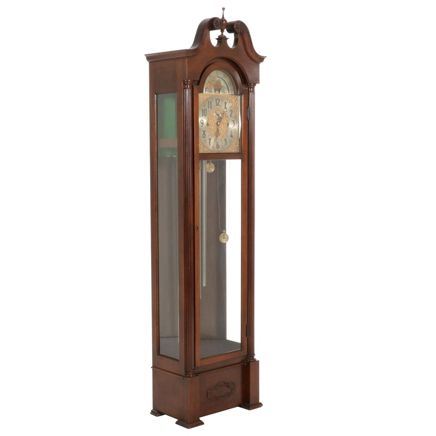 Herschede Five Tube Grandfather Clock with Moon Phase Display, Mid 20th Century