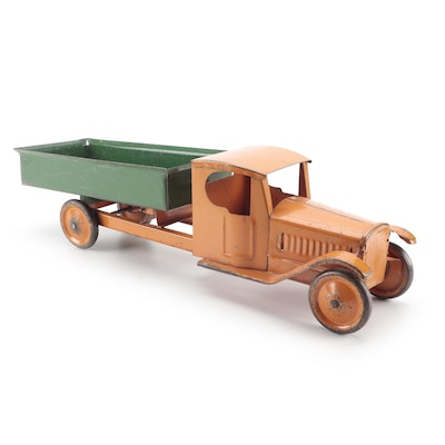 Orange and Green Pressed Steel Toy Dump Truck, Early to Mid-20th Century