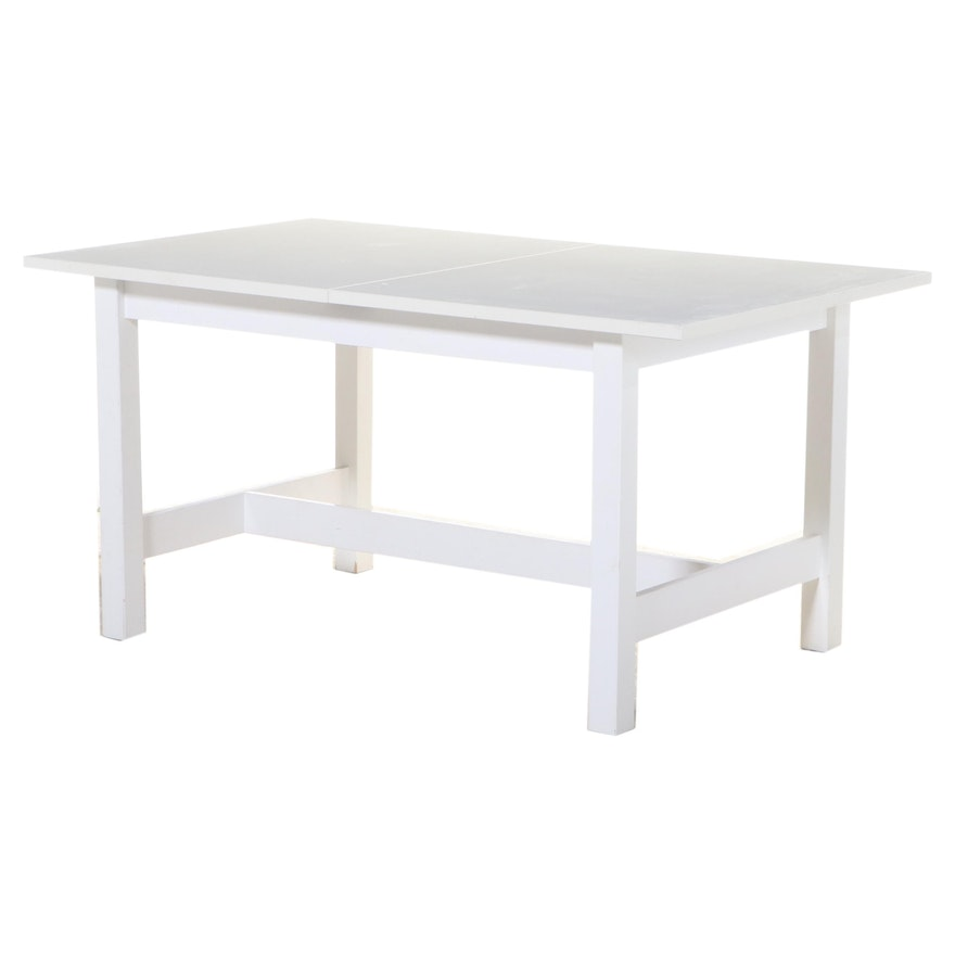 White Laminate Draw Leaf Dining Table