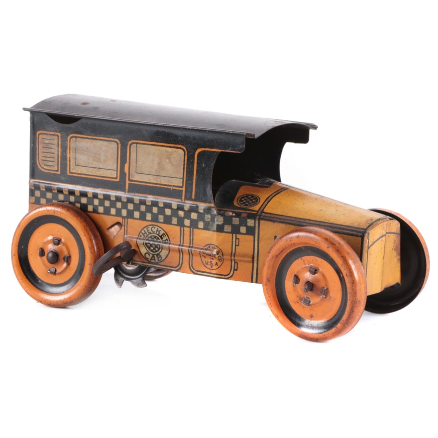 J. Chein & Co. Tin Litho Wind-Up Taxi Cab Toy, 1920s