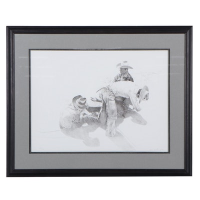 Woodrow Blagg Lithograph of Three Cowboys, 1980