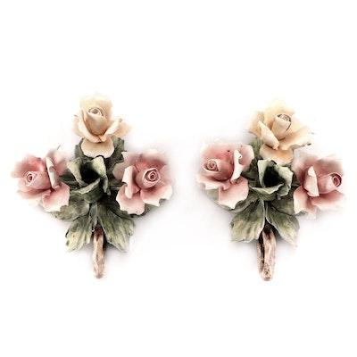 Pair of Italian Mollica Capodimonte Ceramic Floral Chambersticks