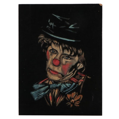 Clown Portrait Acrylic Painting on Velvet, Late 20th Century