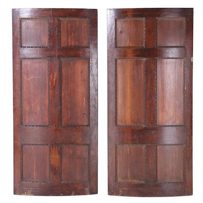 Pair of George III, Greek Revival Curved Mahogany Pocket Doors, Early 19th C.