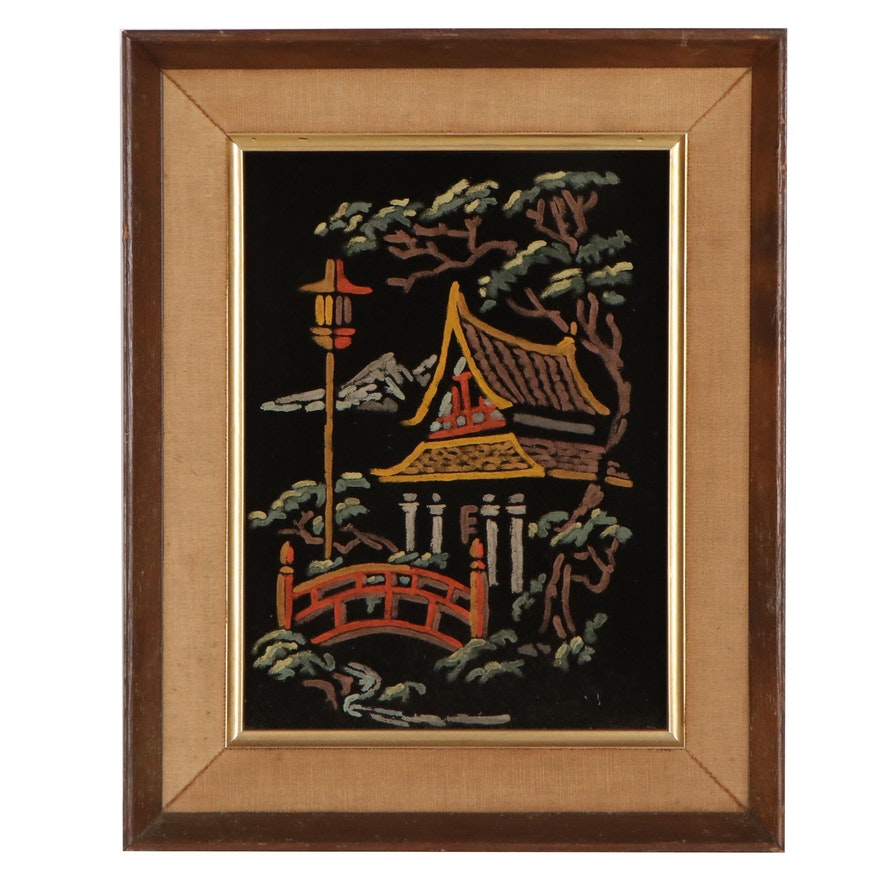 Acrylic Painting on Velvet of Japanese Garden, Late 20th Century