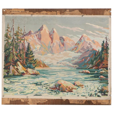 """Paint-By-Numbers Oil Painting """"Mountain Waters,"""" Mid-20th Century"""