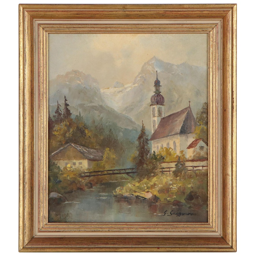 Gertrude Grigorov Landscape Oil Painting, Late 20th Century