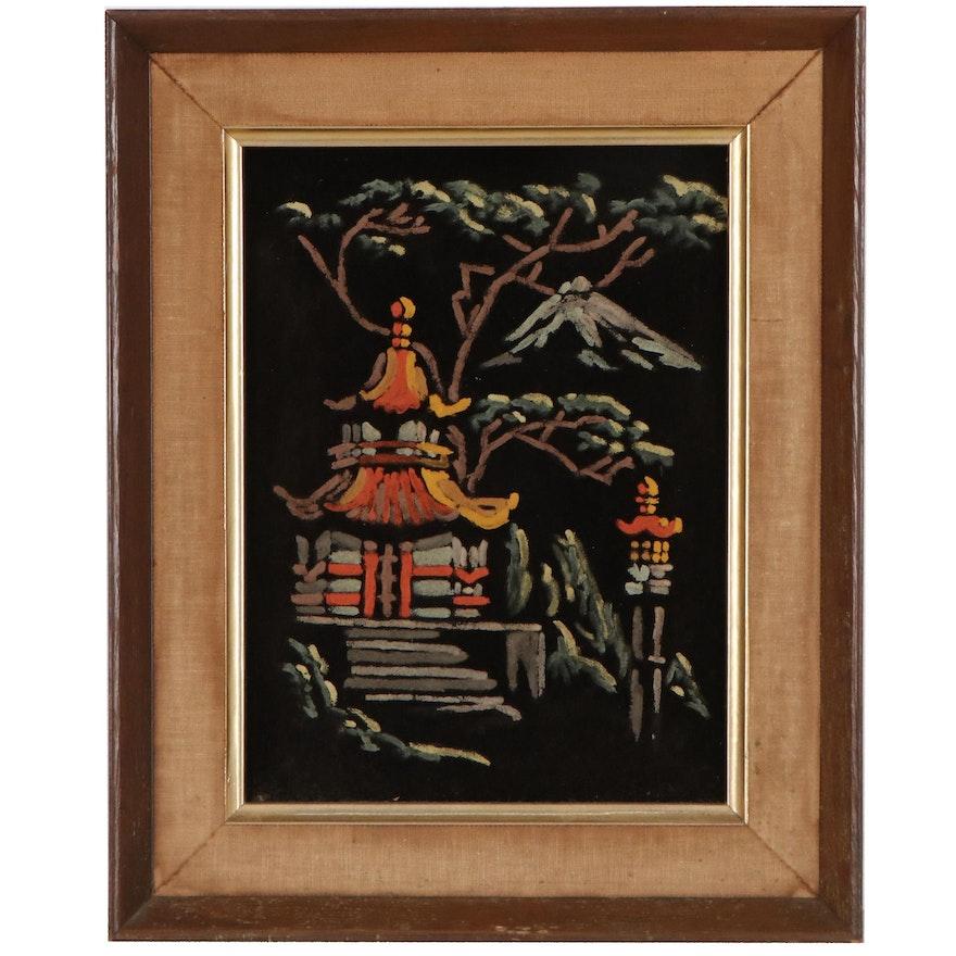 Acrylic Painting on Velvet of Pagoda, Late 20th Century