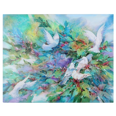 Phil Skoczen Large-Scale Acrylic Painting of Doves