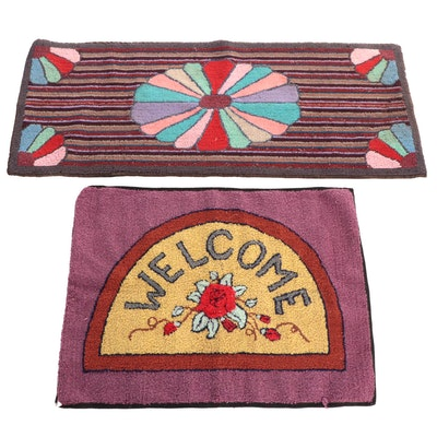 Hand-Hooked Welcome Mat and Ribbon Carpet Runner, Late 20th Century