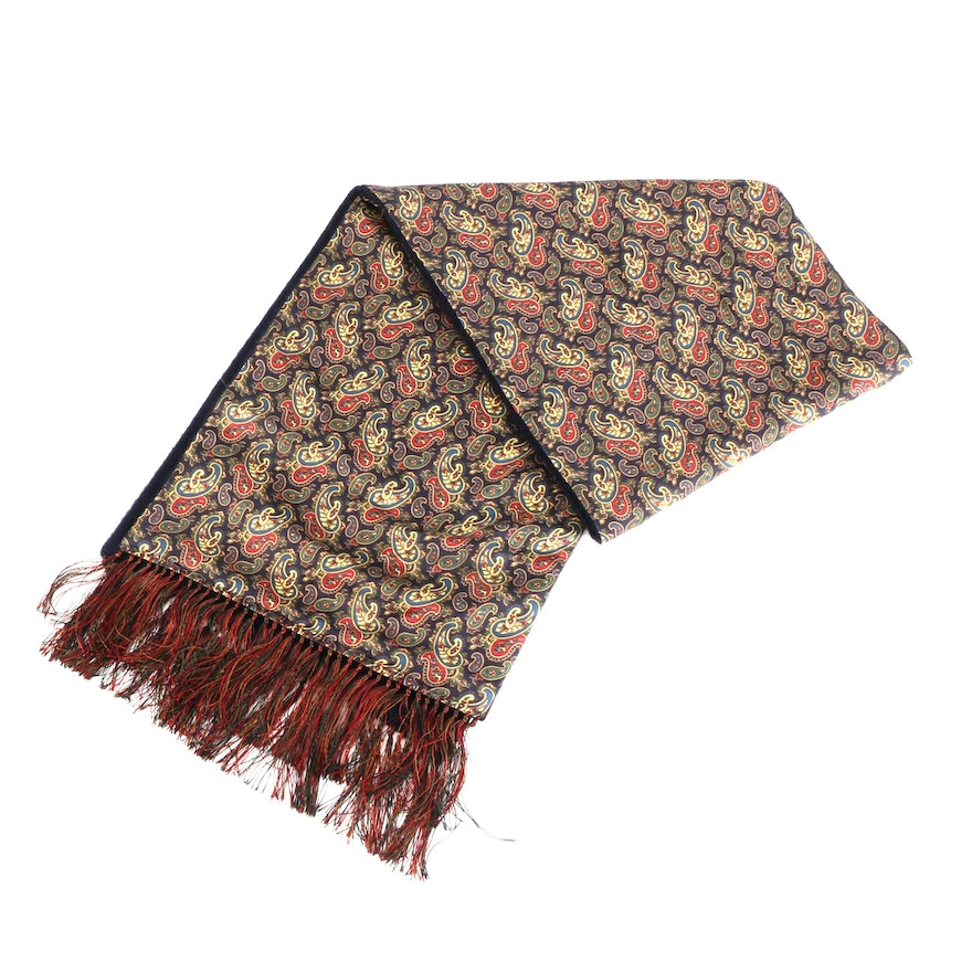 Johnstons of Elgin Paisley Silk and Navy Cashmere Fringe Scarf