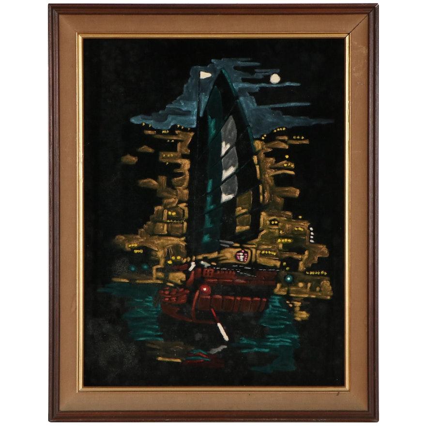 Acrylic Painting Ship at Sea, Late 20th Century