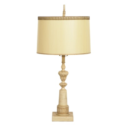 Neoclassical Ceramic Pillar Table Lamp with Drum Shade