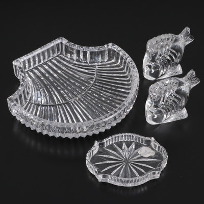 Waterford Crystal Shell Shaped Dish with Fish Paperweights