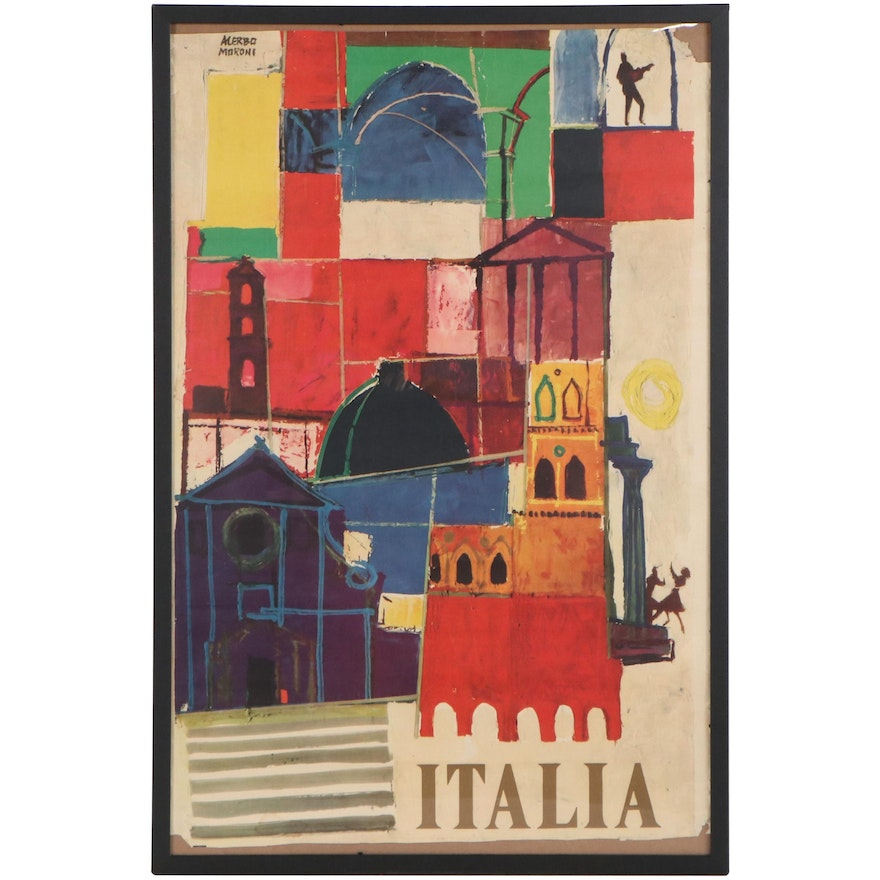 """Offset Lithograph After Alerbo Moroni """"Italia"""""""