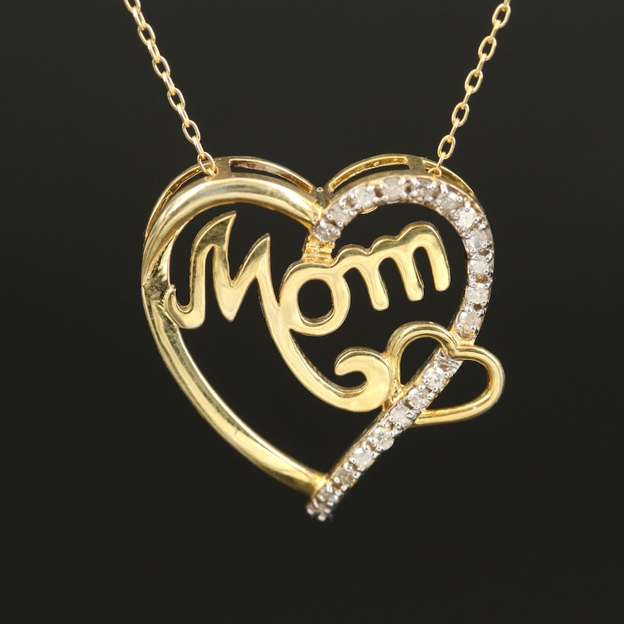 """Sterling Diamond """"Mom"""" Double Heart Pendant Necklace"""